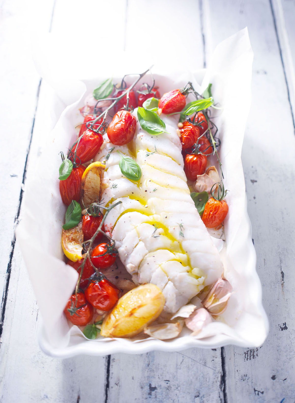 Fish & Tomatoes in oven dish
